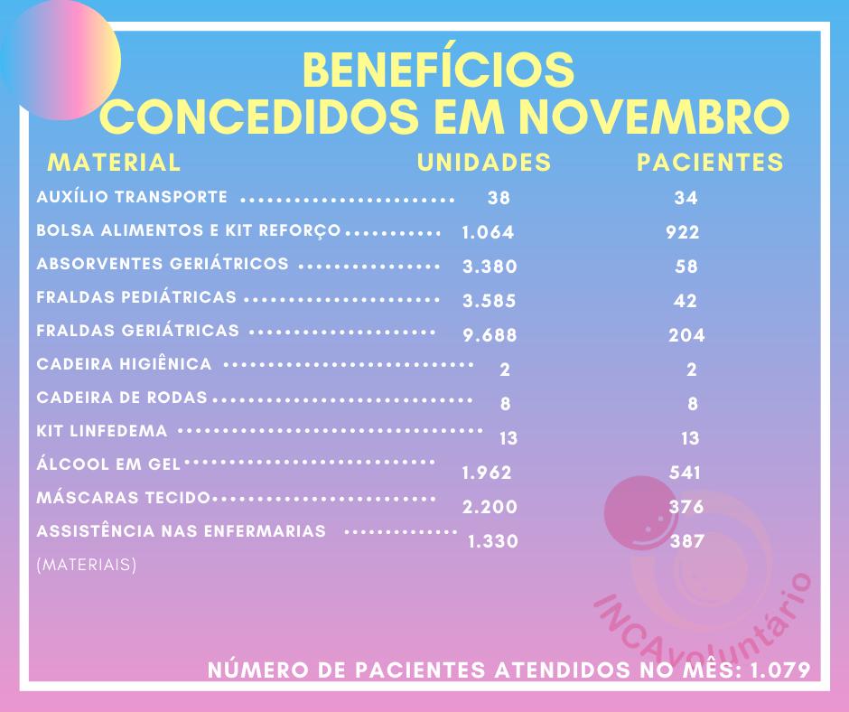 doações entregues pacientes INCA